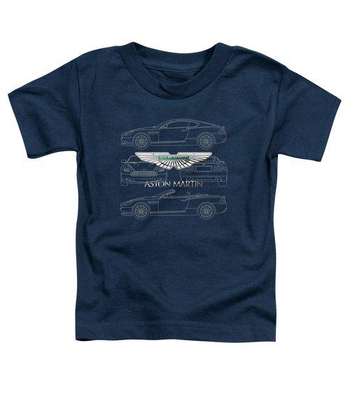 Aston Martin 3 D Badge Over Aston Martin D B 9 Blueprint Toddler T-Shirt