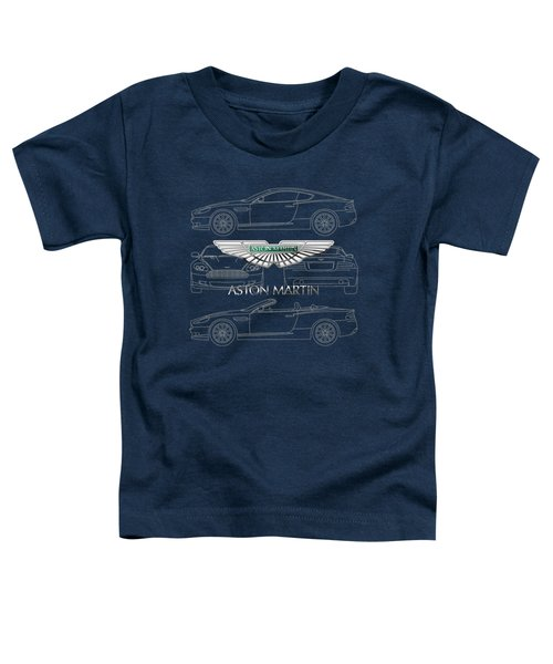 Aston Martin 3 D Badge Over Aston Martin D B 9 Blueprint Toddler T-Shirt