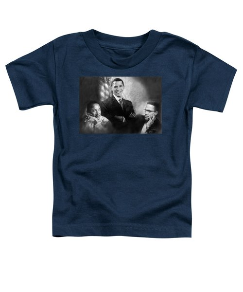 Barack Obama Martin Luther King Jr And Malcolm X Toddler T-Shirt by Ylli Haruni