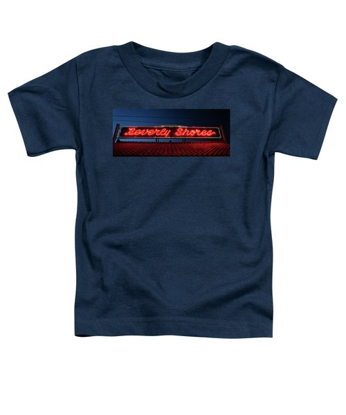 Beverly Shores Indiana Depot Neon Sign Panorama Toddler T-Shirt