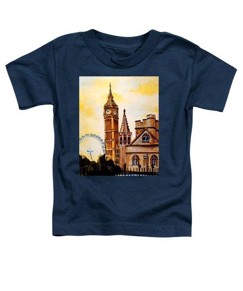 Big Ben And London Eye - Art By Dora Hathazi Mendes Toddler T-Shirt by Dora Hathazi Mendes