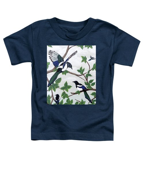 Black Billed Magpies Toddler T-Shirt by Teresa Wing