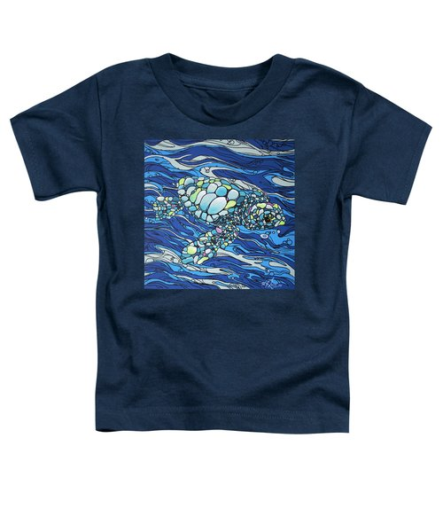 Black Contour Turtle Toddler T-Shirt