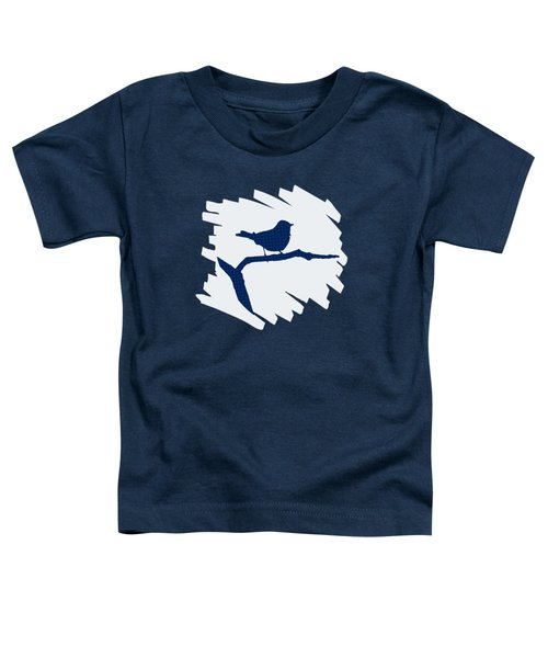 Blue Bird Silhouette Modern Bird Art Toddler T-Shirt by Christina Rollo