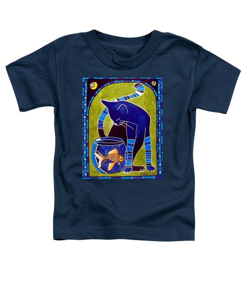 Toddler T-Shirt featuring the painting Blue Cat With Goldfish by Dora Hathazi Mendes