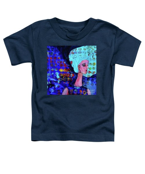 Blue Haired Girl On Windy Day Toddler T-Shirt