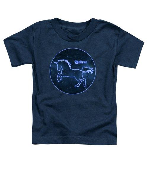 Blue Neon Light Unicorn Text Believe Toddler T-Shirt