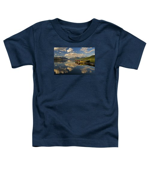 Boats At Lake Mcdonald Toddler T-Shirt by Gary Lengyel