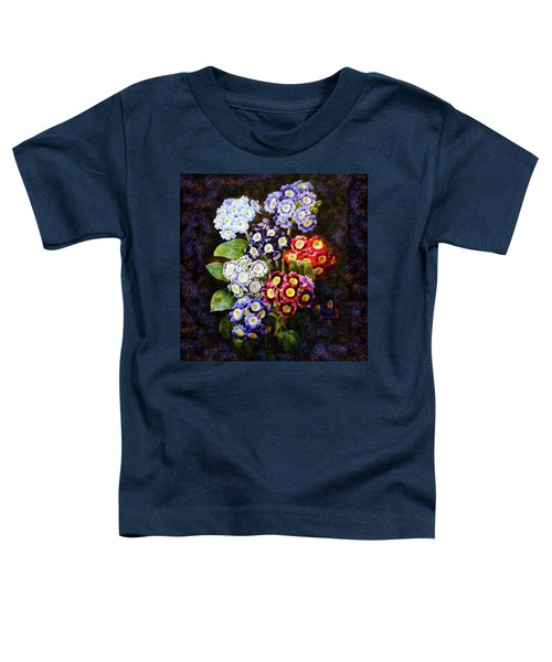 Toddler T-Shirt featuring the digital art Bouquet Of Auriculas Redoute by Joy McKenzie