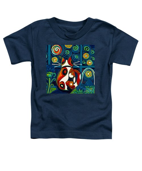 Calico Cat At Window On A Starry Night Toddler T-Shirt