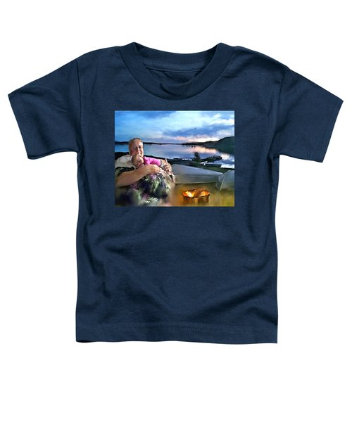 Toddler T-Shirt featuring the painting Camping With Grandpa by Susan Kinney