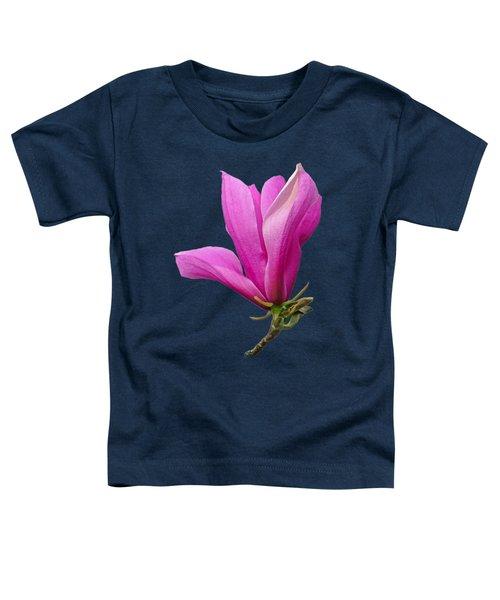 Cerise Pink Magnolia Flower On Black Toddler T-Shirt