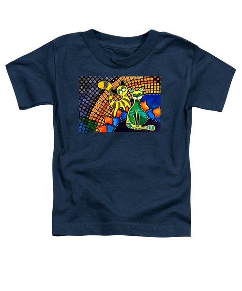 Toddler T-Shirt featuring the painting Cheer Up My Friend - Cat Art By Dora Hathazi Mendes by Dora Hathazi Mendes