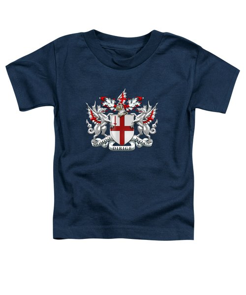 City Of London - Coat Of Arms Over Blue Leather  Toddler T-Shirt