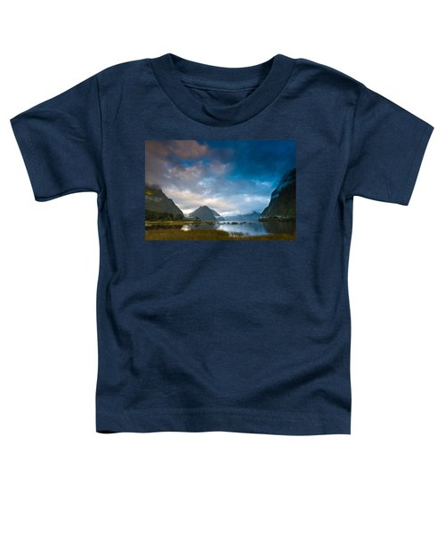 Cloudy Morning At Milford Sound At Sunrise Toddler T-Shirt