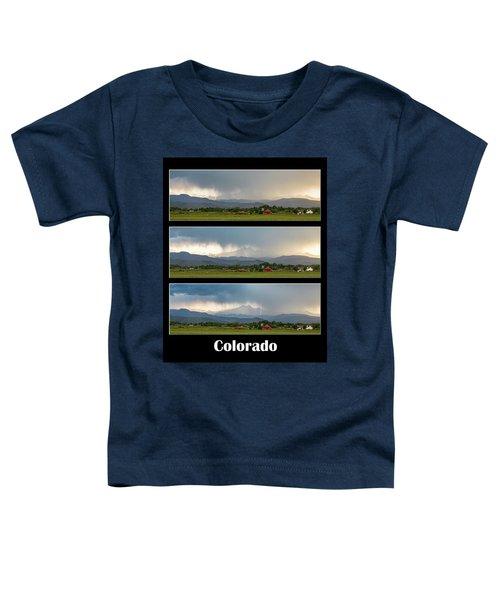 Toddler T-Shirt featuring the photograph Colorado Front Range Longs Peak Lightning And Rain Poster by James BO Insogna