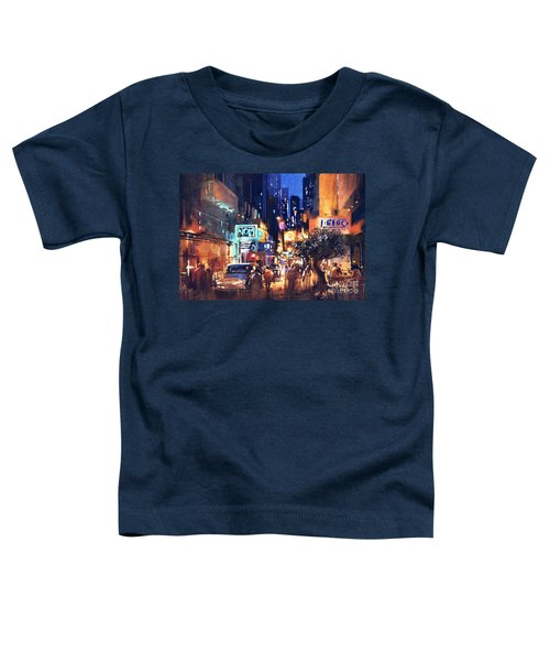 Toddler T-Shirt featuring the painting Colorful Night Street by Tithi Luadthong