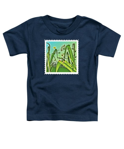 Cute Frog Camouflaged In The Garden Jungle Toddler T-Shirt by Elaine Plesser