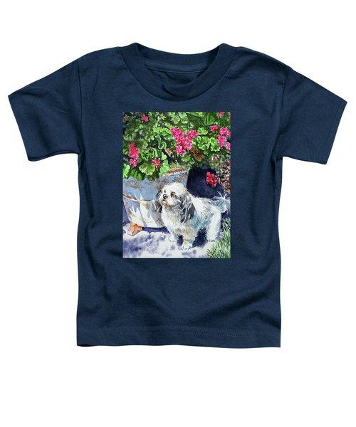 Cute Shih Tzu Dog Under Geranium  Toddler T-Shirt