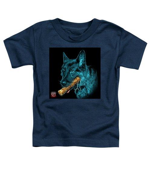 Cyan German Shepherd And Toy - 0745 F Toddler T-Shirt