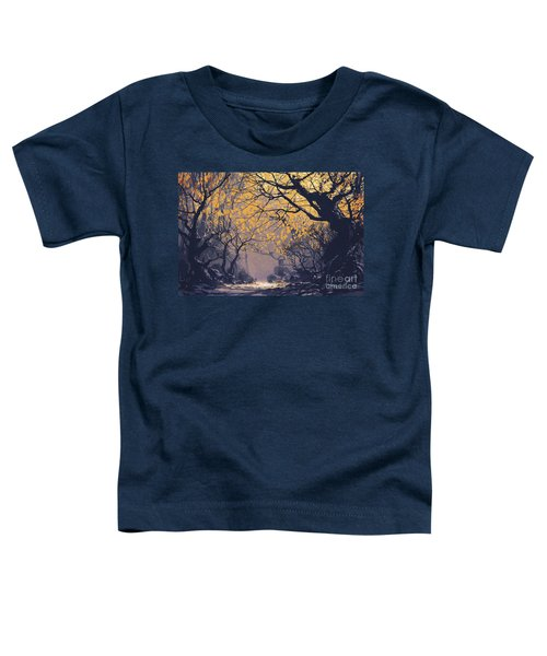 Toddler T-Shirt featuring the painting Dark Forest by Tithi Luadthong