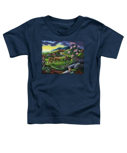 Deer Chipmunk Summer Appalachian Folk Art - Rural Country Farm Landscape - Americana  Toddler T-Shirt by Walt Curlee