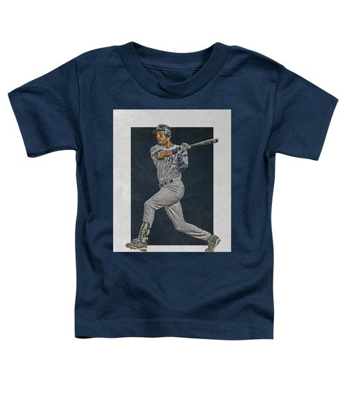 Derek Jeter New York Yankees Art 2 Toddler T-Shirt by Joe Hamilton
