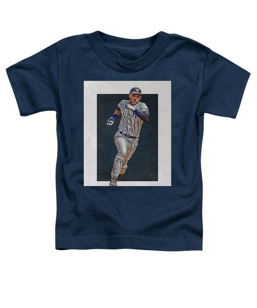 Derek Jeter New York Yankees Art 3 Toddler T-Shirt by Joe Hamilton