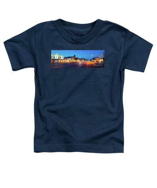 Early Morning Panorama Of Fredericksburg Main Street - Gillespie County Texas Hill Country Toddler T-Shirt