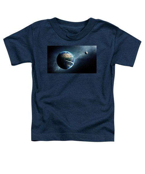 Earth And Moon Space View Toddler T-Shirt