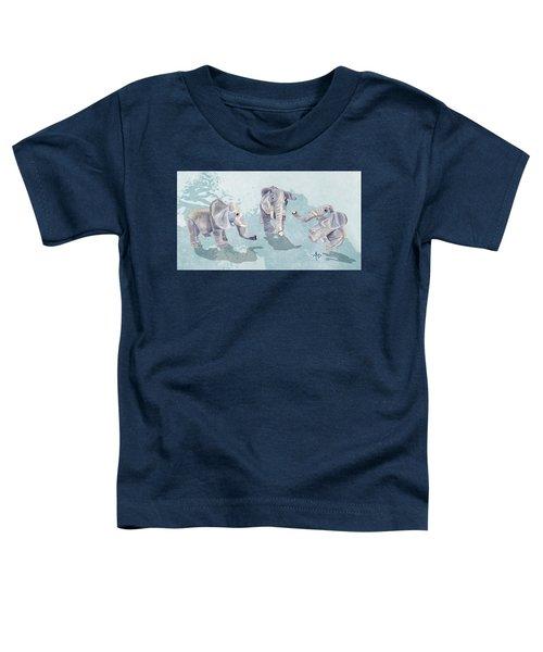 Elephants In Blue Toddler T-Shirt