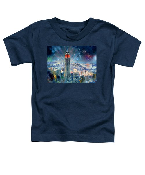 Empire State Building In 4th Of July Toddler T-Shirt by Ylli Haruni