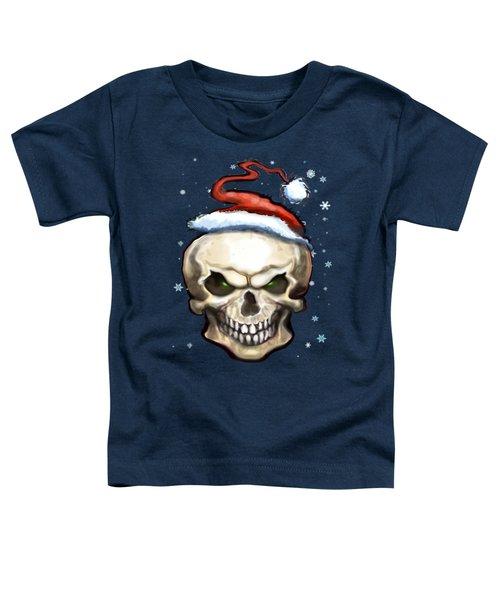 Evil Christmas Skull Toddler T-Shirt by Kevin Middleton