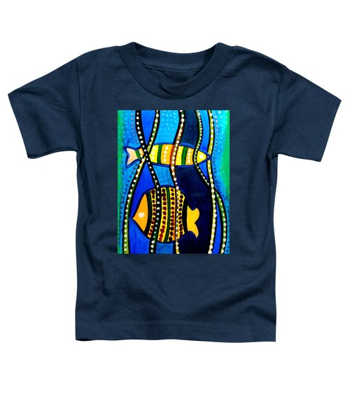 Toddler T-Shirt featuring the painting Fishes With Seaweed - Art By Dora Hathazi Mendes by Dora Hathazi Mendes