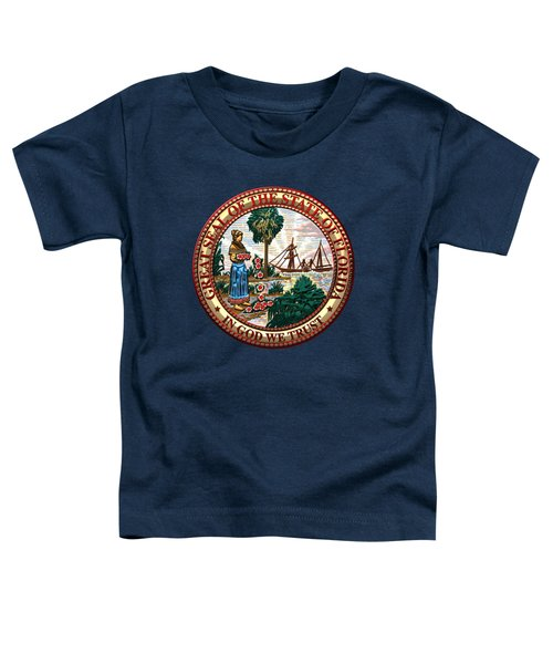 Florida State Seal Over Blue Velvet Toddler T-Shirt