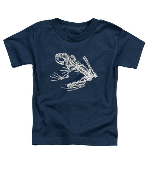 Frog Skeleton In Silver On Blue  Toddler T-Shirt