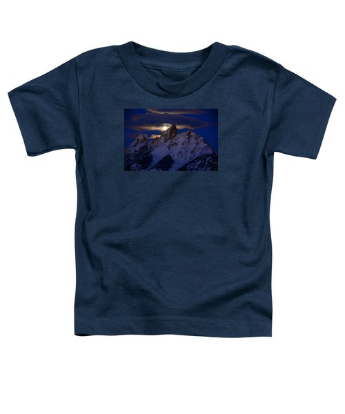 Full Moon Sets Over The Grand Teton Toddler T-Shirt