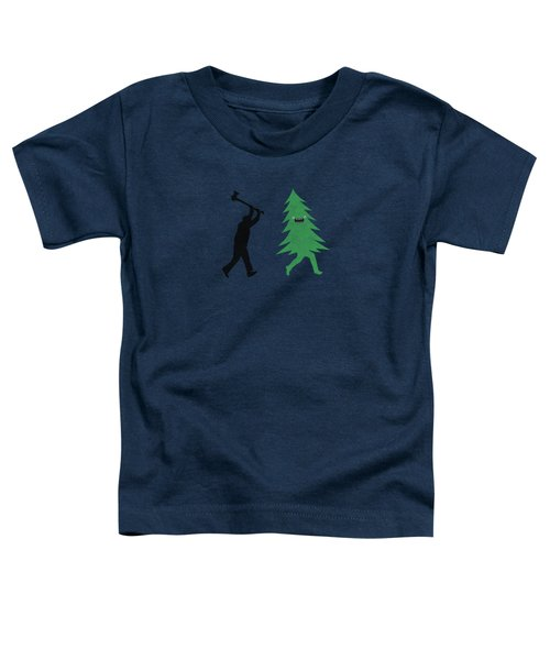 Funny Cartoon Christmas Tree Is Chased By Lumberjack Run Forrest Run Toddler T-Shirt by Philipp Rietz