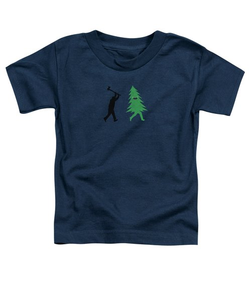 Funny Cartoon Christmas Tree Is Chased By Lumberjack Run Forrest Run Toddler T-Shirt