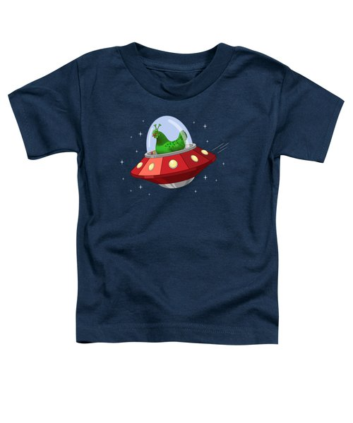 Funny Green Alien Martian Chicken In Flying Saucer Toddler T-Shirt