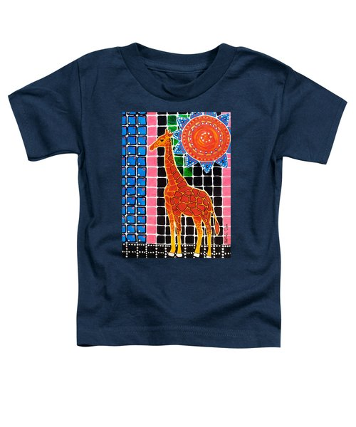 Toddler T-Shirt featuring the painting Giraffe In The Bathroom - Art By Dora Hathazi Mendes by Dora Hathazi Mendes