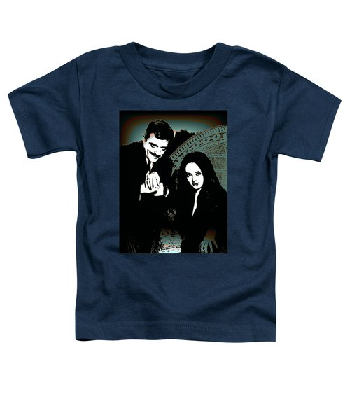 Toddler T-Shirt featuring the digital art Gomez And Morticia Addams by Joy McKenzie