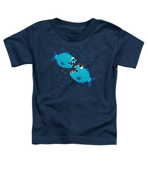Gossiping Blue Piranha Fish Toddler T-Shirt