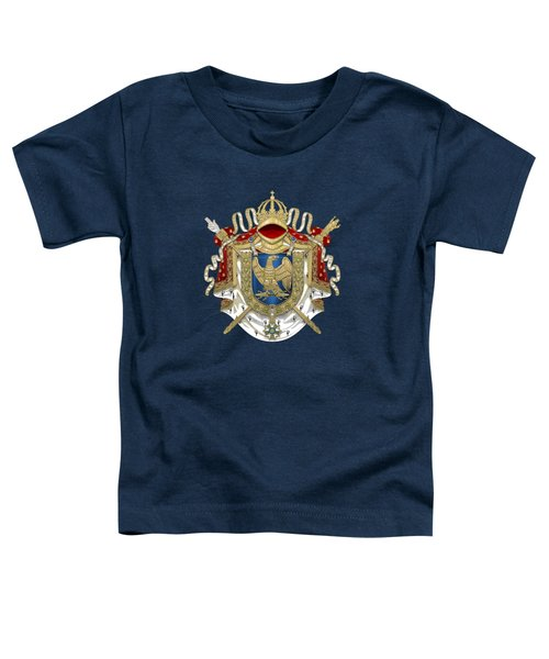 Greater Coat Of Arms Of The First French Empire Over Blue Velvet Toddler T-Shirt