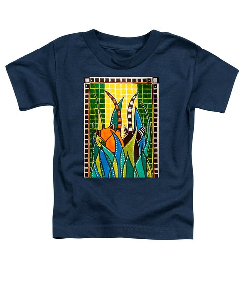 Toddler T-Shirt featuring the painting Hide And Seek - Cat Art By Dora Hathazi Mendes by Dora Hathazi Mendes