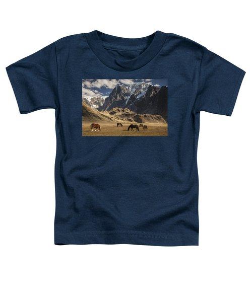Horses Grazing Under Siula Grande Toddler T-Shirt