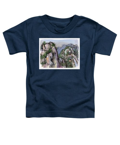 Toddler T-Shirt featuring the painting Huangshan, China by Judith Kunzle