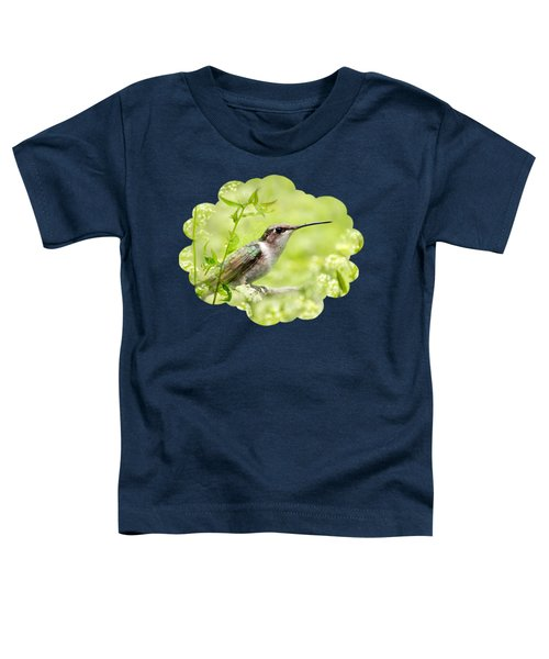 Hummingbird Hiding In Flowers Toddler T-Shirt by Christina Rollo