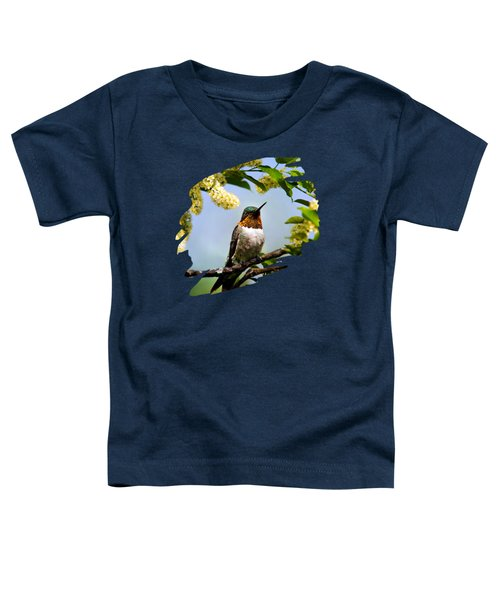 Hummingbird With Flowers Toddler T-Shirt by Christina Rollo
