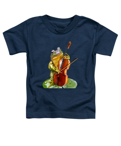 Humorous Scene Frog Playing Cello In Lily Pond Toddler T-Shirt by Regina Femrite